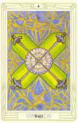 Four of Swords Tarot card in Crowley Tarot deck