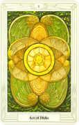 Ace of Disks Tarot card in Crowley Tarot deck