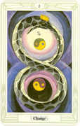 Two of Disks Tarot card in Crowley Tarot deck