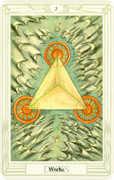 Three of Disks Tarot card in Crowley Tarot deck