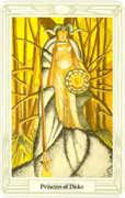 Princess of Disks Tarot card in Crowley Tarot deck