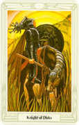 Knight of Disks Tarot card in Crowley Tarot deck