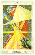 The Hermit Tarot card in Crowley Tarot deck
