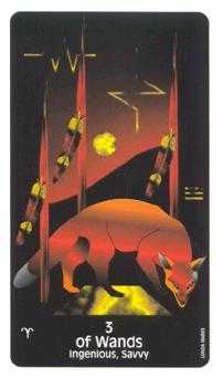 Three of Batons Tarot Card - Crow's Magick Tarot Deck