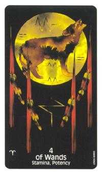 Four of Batons Tarot Card - Crow's Magick Tarot Deck
