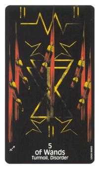 Five of Batons Tarot Card - Crow's Magick Tarot Deck