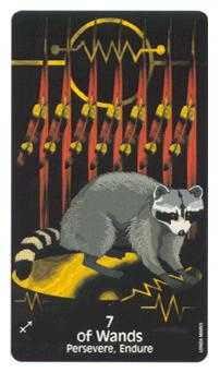 Seven of Batons Tarot Card - Crow's Magick Tarot Deck
