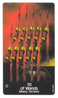 Ten of Staves Tarot Card - Crow's Magick Tarot Deck