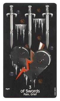 Three of Swords Tarot Card - Crow's Magick Tarot Deck