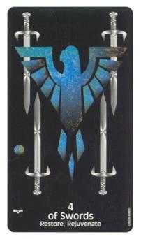 Four of Arrows Tarot Card - Crow's Magick Tarot Deck
