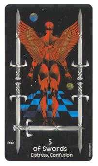 Five of Wind Tarot Card - Crow's Magick Tarot Deck