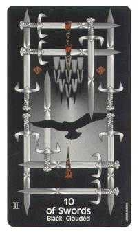Ten of Arrows Tarot Card - Crow's Magick Tarot Deck