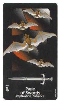 Page of Spades Tarot Card - Crow's Magick Tarot Deck
