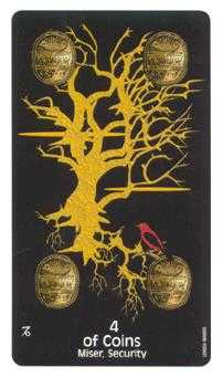 Four of Pumpkins Tarot Card - Crow's Magick Tarot Deck