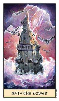 The Falling Tower Tarot Card - Crystal Visions Tarot Deck