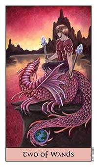 Two of Rods Tarot Card - Crystal Visions Tarot Deck