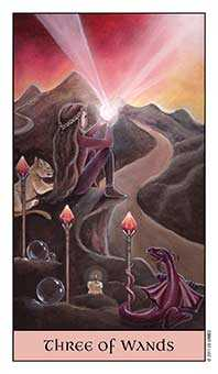 Three of Batons Tarot Card - Crystal Visions Tarot Deck