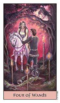 Four of Batons Tarot Card - Crystal Visions Tarot Deck