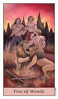Five of Rods Tarot Card - Crystal Visions Tarot Deck
