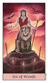 Six of Batons Tarot Card - Crystal Visions Tarot Deck