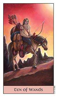 Ten of Staves Tarot Card - Crystal Visions Tarot Deck