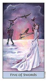 Five of Bats Tarot Card - Crystal Visions Tarot Deck