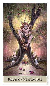 Four of Pentacles Tarot Card - Crystal Visions Tarot Deck