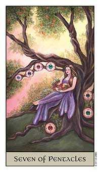 Seven of Coins Tarot Card - Crystal Visions Tarot Deck