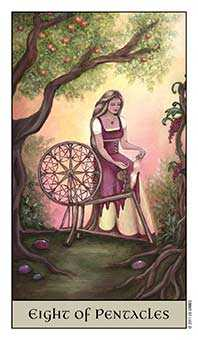 Eight of Coins Tarot Card - Crystal Visions Tarot Deck