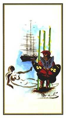 Three of Batons Tarot Card - Salvador Dali Tarot Deck