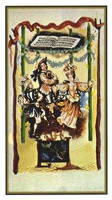 Four of Batons Tarot Card - Salvador Dali Tarot Deck