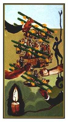 Seven of Staves Tarot Card - Salvador Dali Tarot Deck