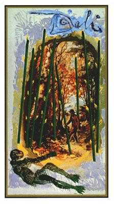 Nine of Batons Tarot Card - Salvador Dali Tarot Deck