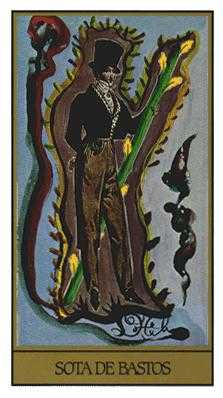 Page of Rods Tarot Card - Salvador Dali Tarot Deck