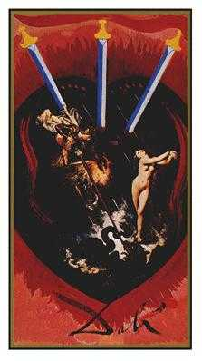 Three of Swords Tarot Card - Salvador Dali Tarot Deck