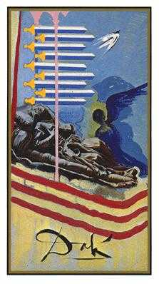Nine of Bats Tarot Card - Salvador Dali Tarot Deck