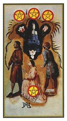 Four of Rings Tarot Card - Salvador Dali Tarot Deck