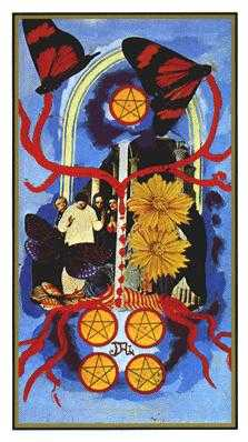 Five of Coins Tarot Card - Salvador Dali Tarot Deck