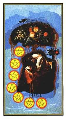 Seven of Pentacles Tarot Card - Salvador Dali Tarot Deck