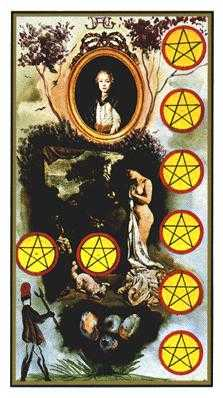 Eight of Coins Tarot Card - Salvador Dali Tarot Deck