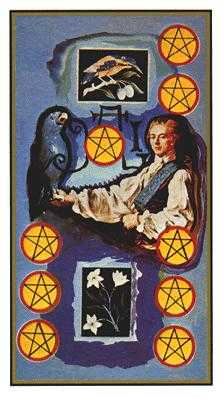 Nine of Coins Tarot Card - Salvador Dali Tarot Deck