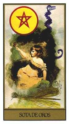 Daughter of Coins Tarot Card - Salvador Dali Tarot Deck