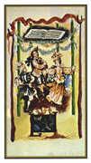 Four of Wands Tarot card in Salvador Dali Tarot deck