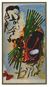 Ten of Wands Tarot card in Salvador Dali deck