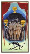 Three of Cups Tarot card in Salvador Dali Tarot deck
