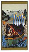 Six of Swords Tarot card in Salvador Dali deck