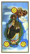 Three of Coins Tarot card in Salvador Dali Tarot deck