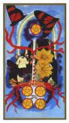 Five of Coins Tarot card in Salvador Dali Tarot deck