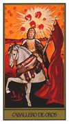 Knight of Coins Tarot card in Salvador Dali deck