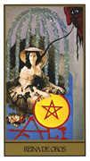 Queen of Coins Tarot card in Salvador Dali deck